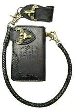 Biker Chain short Wallet motorcycle trucker Buffalo leather engraved black