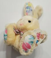 "VINTAGE PLUSH PJ TOYS BUNNY RABBIT WITH TAGS EASTER HOLIDAYS 8"" TALL PINK BOW"