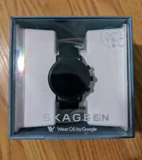 Skagen Falster 2 Stainless Steel and Leather Smartwatch, Color: Black SKT5100