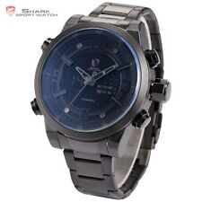 Basking Shark Black Sport Mens LCD Stainless Steel Quartz Date Day Wrist Watch