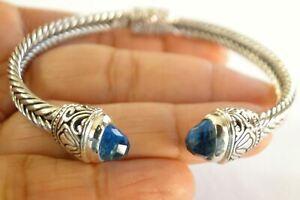 Blue Topaz Ornate Balinese 925 Sterling Silver Cuff Bangle Bracelet