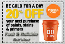 Home Depot couponn 20% Off Paints, Primer, Stain for IN STORE USE. !!RELIABLE!!!