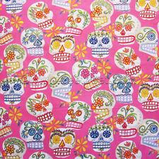 Alexander Henry CALAVERAS SUGAR SKULLS Pink Quilt Fabric by YARD Day of the Dead