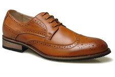 Mens New Brown Leather Lined Formal Smart Brogues Wedding Suit Shoes 6 - 12