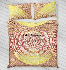 Duvet Cover Reversible Comforter Bohemian Quilt Cover Ombre Mandala Bedding Art