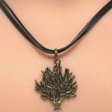 Collier pendentif  arbre cordon noir - bronze tree pendant necklace black strap