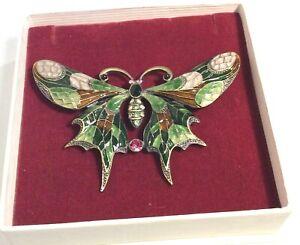 Retro enamel Butterfly Brooch Diamante detail. Gift  boxed