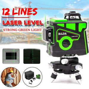 12 Lines 3D Green Laser Level 360° Self Leveling Cross Measure Measuring Tool UK