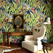 10M Tropical Country Flowers Leaves Pure Paper Wallpaper Embossed Textured Roll