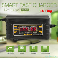 12V/10A Car Motorcycle Smart Fast Leadacid Battery Charger LCD Screen Display EU