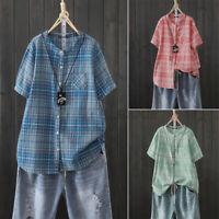 Women Button Down Plaid Check Shirt Tops Short Sleeve O-Neck T-Shirt Tee Blouse