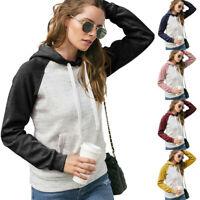 Womens Casual Hoodies Sweatshirt Patchwork Ladies Hooded Blouse Pullover Tops