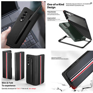 With Pen Case All-Inclusive Protective Shell Twill Phone Case for Samsung Zfold3