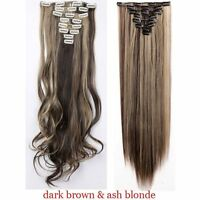 US Real Thick 8Pcs 18Clips Clip in Full Head Hair Extensions As Remy Human Hair