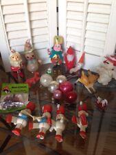 LOT VINTAGE CHRISTMAS ORNAMENTS PAPER MACHE MERCURY GLASS WOOD Miniatures