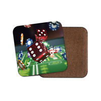 Awesome Red Dice Coaster - Gambling Casino Chips Las Vegas Poker Fun Gift #15845