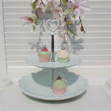 Etagere Romantik Candy Roses Herz 2 Etagen Mint Silberfarben Shabby 20x25x26 cm
