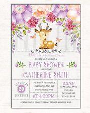 Woodland Invitation Deer Baby Shower Invite Floral Invite Purple Flowers Forest