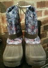 size 6 girls winter snow boots flower pattern