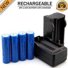 4PCS Rechargeable 6000mAh Li-ion 18650 3.7V Battery & 2x Dual Smart Charger Kits