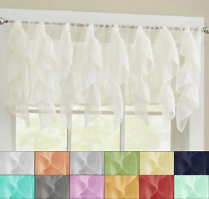 "Sheer Voile Vertical Ruffle Window Kitchen Curtain 12"" Valance"