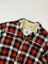 L.L. Bean Fleece-Lined Plaid Long Sleeve Button-Up Men's Jacket Red Black Large