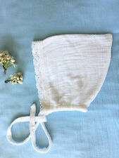 baby bonnets Lace 100% organic cotton , hand made, baby hat, White 12-18 months