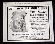 1903 OLD MAGAZINE PRINT AD, MILLER, DANIELS & WALSH, DUPLEX GAS CAR HEADLIGHTS!