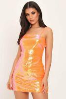 I SAW IT FIRST - Orange Sequin Backless Dress - RRP £25.00 - UK 8 - N24