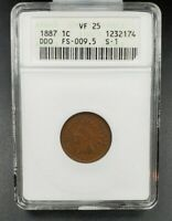 1887 P Indian Cent Penny Variety Error Coin ANACS VF25 FS-009.5 FS-101 S-1 DDO