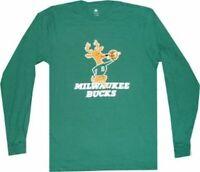 Milwaukee Bucks Throwback Vintage Hardwood Classics Long Sleeve Shirt