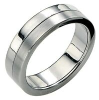 Fred Bennett Brushed & Polished Stainless Steel Spinning Band Stress Ring [Q]