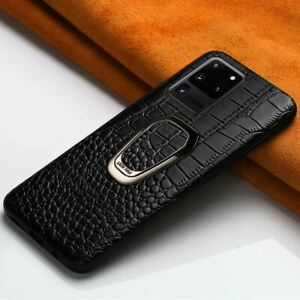 Genuine Leather Case For Samsung Galaxy S21 S20 Ultra Ring Magnetic Kickstand