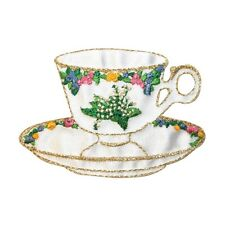 ID 9025 Porcelain Teacup & Saucer Fine China Embroidered Iron On Applique Patch