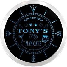 ncx0103-tm Tony's Man Cave Poker Room Custom Name Neon Sign Clock