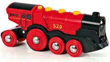Brio Mighty Red Action Locomotive Enfant Nursery Jouet en bois Rails Train Cadeau BN