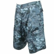 AFTCO M82 Tactical Fishing Shorts Performance Cargo Blue Camo Reg Fit Sz 40