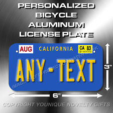 California ANY TEXT Bicycle Toy Bike Scooter Power Wheels Mini License Plate