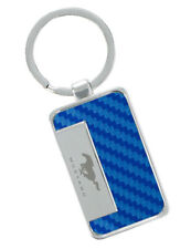 Blue Simulated Carbon Fiber Mustang Key Chain - Stylish & High Quality Ford Item