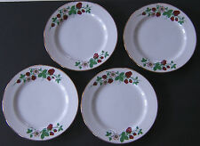 4 Strawberry Patch Thornberrys Dinner Plate Flowers Roses Gilted Rim 9.25 in.
