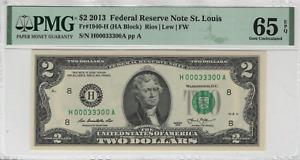 2013 $2 Federal Reserve Note St. Louis Fancy Serial 333 PMG GEM UNC 65 EPQ