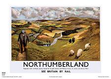 NORTHUMBERLAND  HOLIDAY RETRO VINTAGE RAILWAY TRAVEL POSTER ADVERTISING