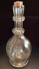 "Vintage Glass Crystal 4 Way Sections Etched Decanter Made in France 11-1/2"" Tall"
