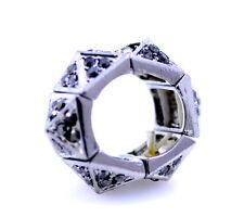 Punk goth style silvery black coloured pyramid stretch ring