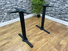 More details for new black commercial grade heavy duty cast iron twin pedestal table base