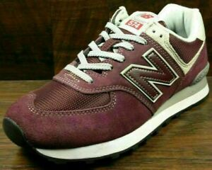 Size 13.5 New Balance 574 men's burgundy sports gym trainers / EU 49 sneakers