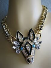 BETSEY JOHNSON CRYSTAL ZEBRA CRITTER PENDANT STATEMENT NECKLACE~NWT~RARE