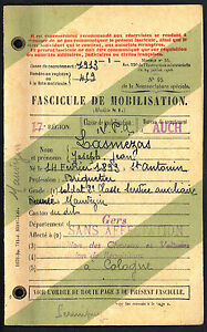 Fascicule de Mobilisation. Classe de recrutement 1938. Gers