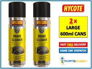 2 x HYCOTE WORKSHOP BRAKE PART DISC CLUTCH CLEANER SPRAY CAN AEROSOL LARGE 600ml