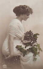 Edwardian Lady With Grapes Original Antique Photo Postcard